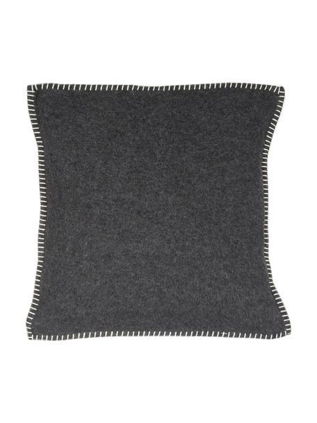 Zachte fleece kussenhoes Sylt met stiksels, 85% katoen, 8% viscose, 7% polyacryl, Antraciet, 40 x 40 cm