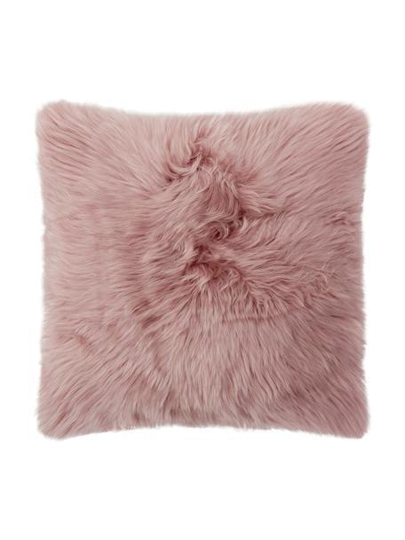 Federa arredo in pelliccia di pecora rosa Oslo, Retro: lino, Fronte: rosa retro: grigio chiaro, Larg. 40 x Lung. 40 cm
