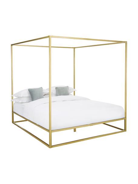 Łóżko z metalu z baldachimem Belle, Metal mosiądzowany, Odcienie złotego, matowy, S 160 x D 200 cm