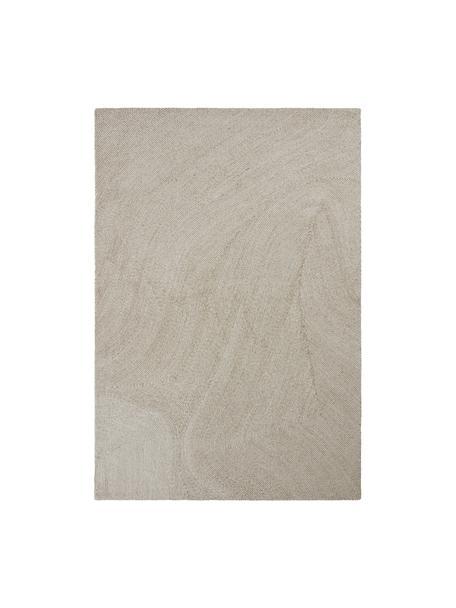 Grote handgeweven vloerkleed Canyon met golfachtig patroon in beige/wit, 51% polyester, 49% wol, Beige, B 160 x L 230 cm (maat M)