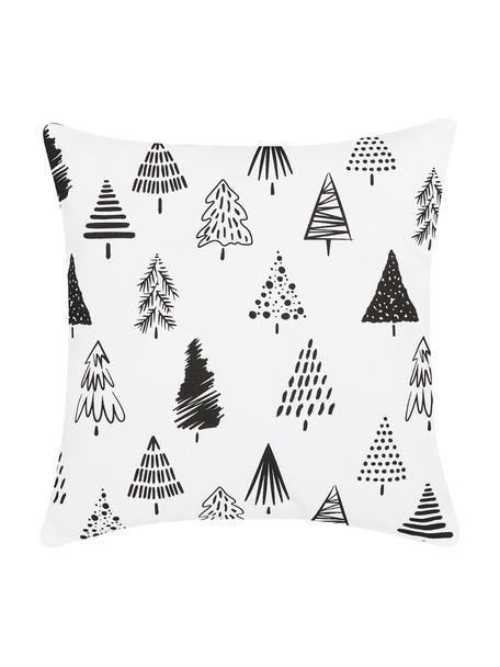 Kussenhoes Scandi met kerstbomen in zwart/wit, Katoen, Wit, zwart, 40 x 40 cm