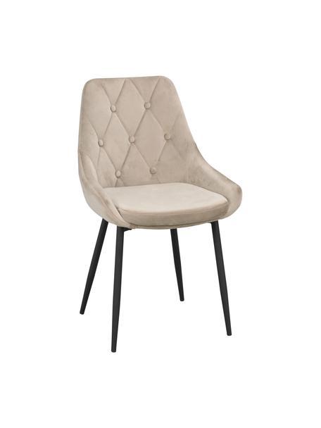 Krzesło tapicerowane z aksamitu Alberton, 2 szt., Tapicerka: 100% aksamit poliestrowy, Nogi: metal lakierowany, Beżowy, czarny, S 59 x G 62 cm