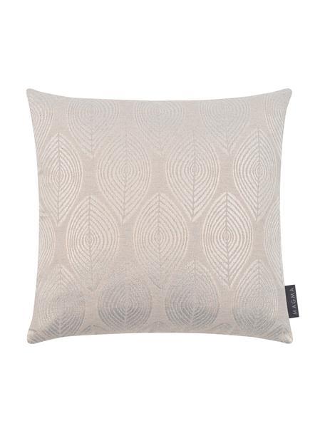 Kissenhülle Dulce in Beige mit glänzenden Motiven, 78% Polyester, 22% Baumwolle, Beige, 50 x 50 cm