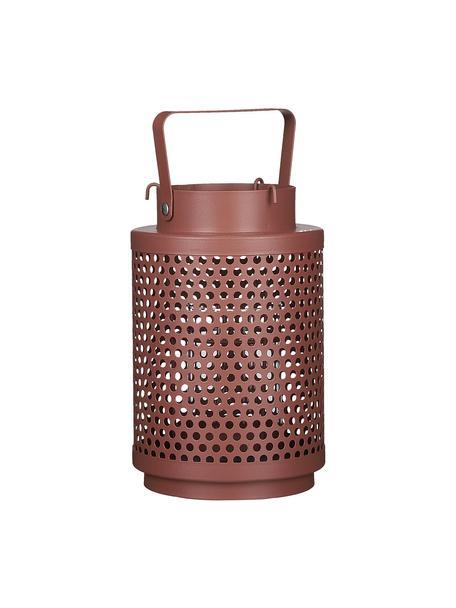 Lantaarn Barney, Gecoat metaal, Donkerroze, Ø 12 x H 19 cm