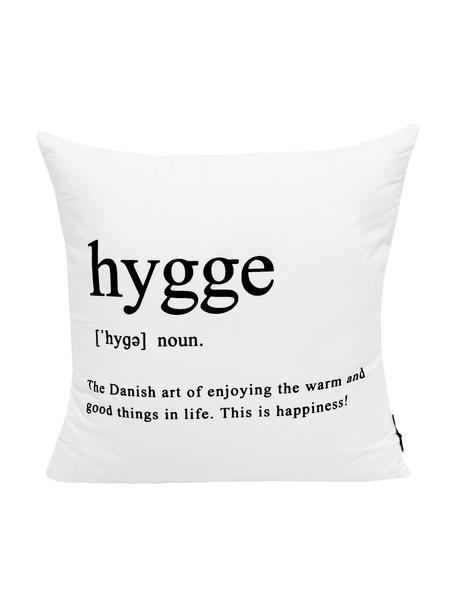 Funda de cojín con inscripción Hygge, 100%poliéster, Negro, blanco, An 45 x L 45 cm