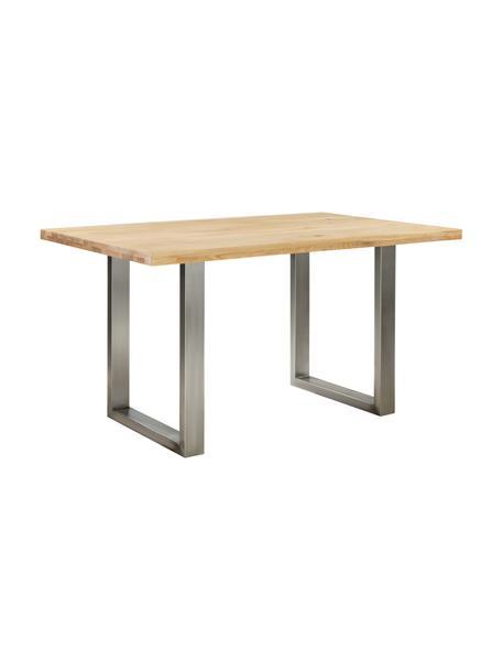 Tavolo con piano in legno massello Oliver, Piano del tavolo: Doghe di quercia selvatic, Quercia selvatica, acciaio inossidabile, Larg. 140 x Alt. 90 cm
