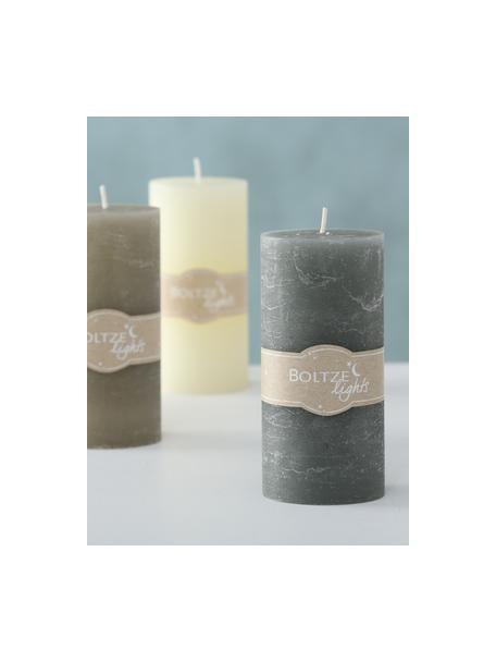 Set de velas Trent, 3pzas., Cera, Crema, verde, gris pardo, Ø 7 x Al 15 cm