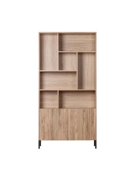 Eichenholz Standregal Gravure mit  Stauraum, Korpus: Eichenholz, massiv, lacki, Einlegeböden: Sperrholz, laminiert, Eichenholz, 100 x 200 cm