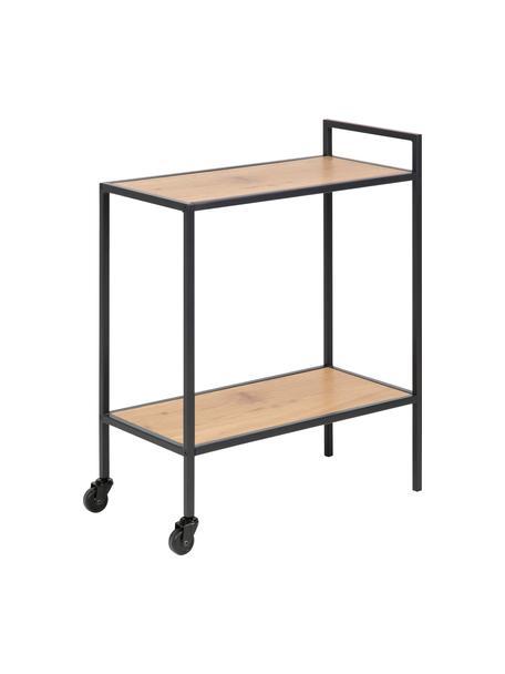 Wózek barowy z drewna i metalu Seaford, Stelaż: metal malowany proszkowo, Dzikie drewno dębowe, czarny, S 60 x W 75 cm