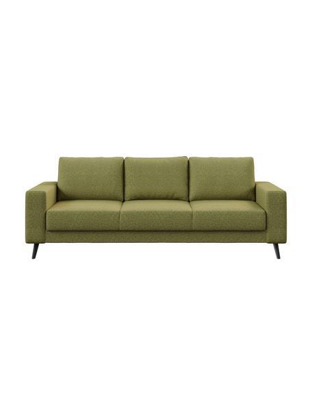 Sofa Fynn (3-osobowa), Tapicerka: 100% poliester z uczuciem, Stelaż: drewno liściaste, drewno , Nogi: drewno lakierowane Dzięki, Oliwkowy zielony, S 233 x G 86 cm