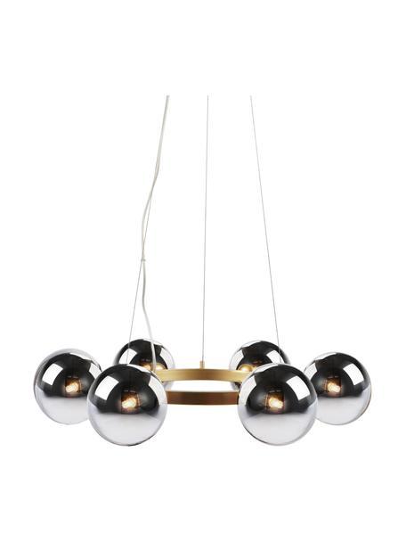 Lampada a sospensione grande in lastra di vetro Circle, Paralume: vetro, Baldacchino: metallo rivestito, Dorato, cromo, Ø 71 x Alt. 15 cm