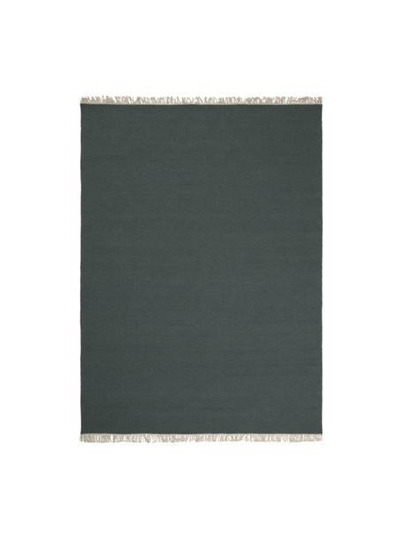 Tappeto kilim in lana verde scuro tessuto a mano con frange Rainbow, Frange: 100% cotone Nel caso dei , Verde, Larg. 140 x Lung. 200 cm (taglia S)