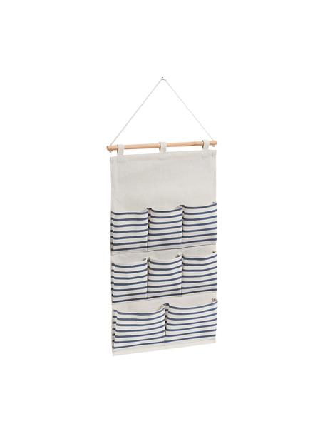 Hängender Schrank-Organizer Stripes mit 8 Fächern, Organizer: 20% Polyester, 80% Baumwo, Stange: Holz, Weiß, Blau, 35 x 60 cm