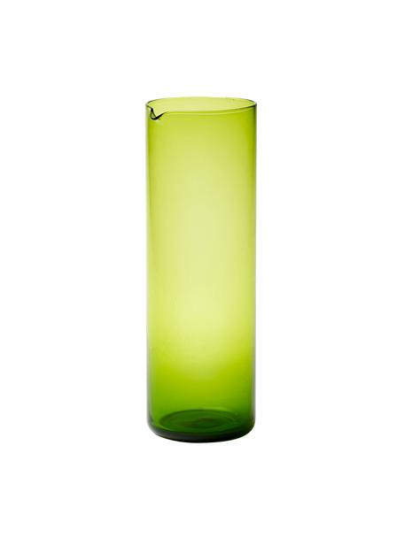 Mundgeblasene Glaskaraffe Bloom in Grün, 1 L, Glas, mundgeblasen, Grün, Ø 8 x H 24 cm