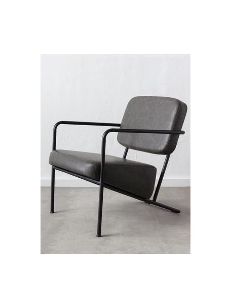 Kunstleren lounge fauteuil Arms met metalen frame, Bekleding: kunstleer, Frame: multiplex, Frame: gecoat metaal, Grijs, 57 x 76 cm