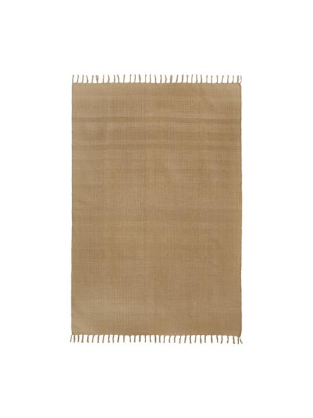 Dünner Baumwollteppich Agneta in Beige, handgewebt, 100% Baumwolle, Beige, B 50 x L 80 cm (Grösse XXS)