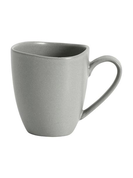 Steingut-Tassen Refine matt Grau in organischer Form, 4 Stück, Steingut, Grau, Ø 9 x H 10 cm