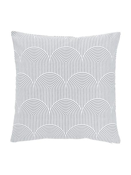 Kussenhoes Arc in lichtgrijs/wit, 100% katoen, Grijs, 45 x 45 cm