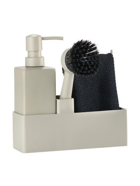 Afwasmiddeldispenserset Parta met afwasborstel in beige, 3-delig, Keramiek, siliconen, Beige, zwart, 19 x 21 cm