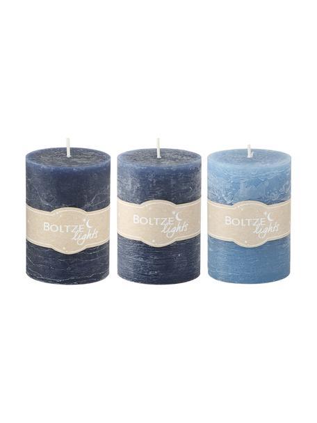 Set di 3 candele Birara, Blu, Ø 7 x Alt. 10 cm