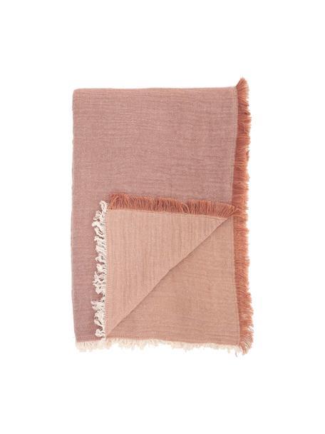Katoenen tafelkleed Layer met franjes, 100% katoen, Rood, Voor 4 - 6 personen (B 160 x L 160 cm)