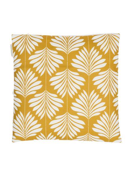 Linnen kussenhoes Agga in geel/wit, 60% linnen, 40% katoen, Geel, wit, 45 x 45 cm