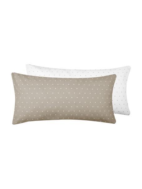 Flanell-Wendekissenbezüge Betty, gepunktet, 2 Stück, Webart: Flanell Fadendichte 144 T, Beige, Weiß, 40 x 80 cm