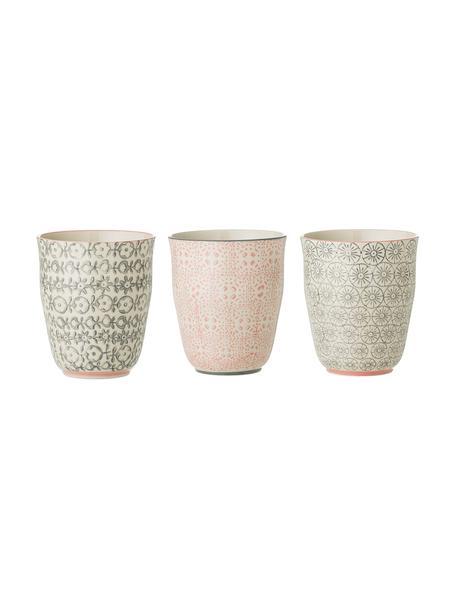Beker Cécile met kleine patroon, 3-delig, Keramiek, Beige, groen, roze, Ø 9 x H 10 cm