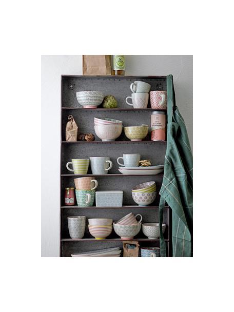 Tazas originales Cécile, 3uds., Gres, Beige, verde, rosa, Ø 9 x Al 10 cm