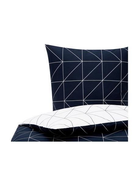 Dwustronna pościel z bawełny Marla, Granatowy, biały, 135 x 200 cm + 1 poduszka 80 x 80 cm