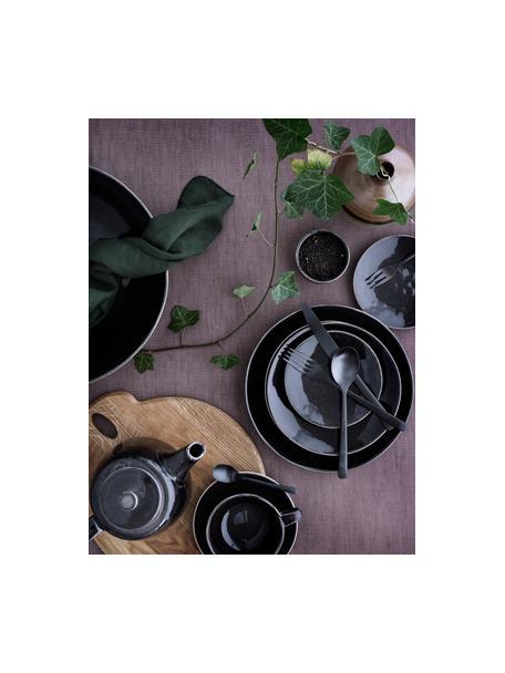 Tazza con piattino in gres fatti a mano Nordic Coal, Gres, Brunastro, Ø 11 x Alt. 5 cm