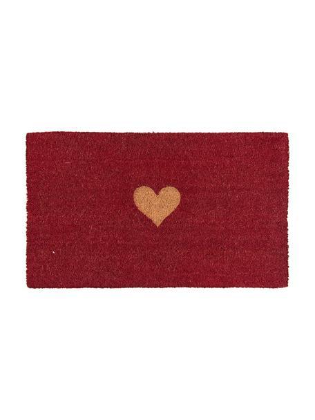 Felpudo Heart, Parte superior: fibras de coco, Reverso: PVC, Rojo, marrón, An 45 x L 75 cm