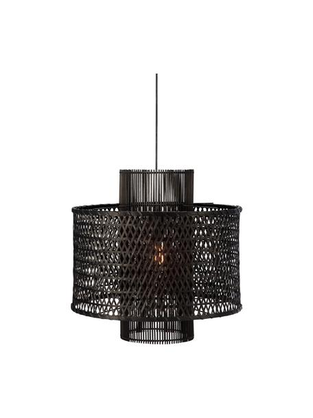 Hanglamp Ambon van rotan, Lampenkap: rotan, Baldakijn: gecoat metaal, Zwart, Ø 50 x H 50 cm