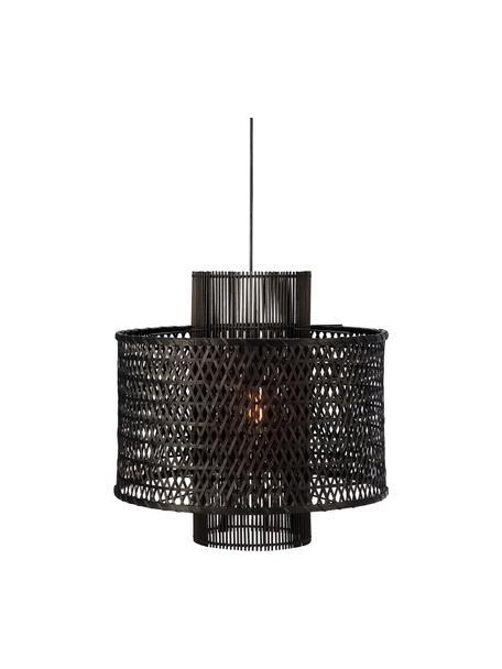 Lámpara de techo regulable Ambon, Pantalla: ratán, Anclaje: metal recubierto, Cable: cubierto en tela, Negro, Ø 50 x Al 50 cm