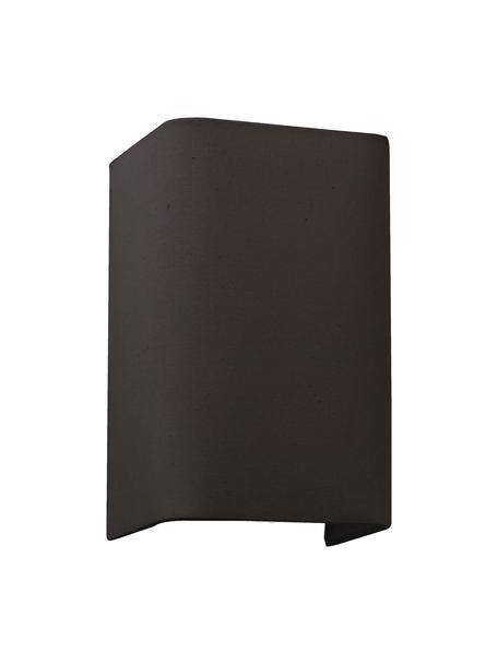 Applique con paralume in tessuto Cotto, Paralume: cotone, Struttura: metallo, Nero, Larg. 13 x Alt. 20 cm