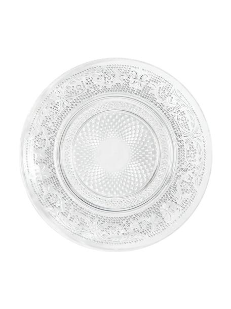 Glas-Brotteller Imperial mit Relief, 6 Stück, Glas, Transparent, Ø 15 cm