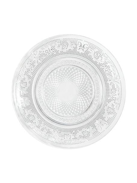 Talerz śniadaniowy ze szkła z reliefem Imperial, 6 szt., Szkło, Transparentny, Ø 15 cm