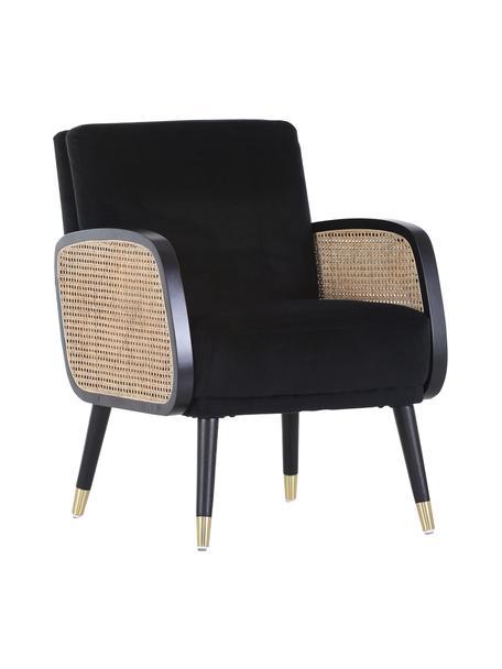 Loungefauteuil Hakoon met Weens vlechtwerk in zwart, Bekleding: 100% polyester, Poten: hout, Zwart, beige, B 64 x D 75 cm
