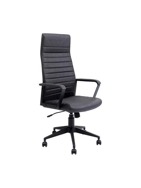 Krzesło biurowe ze sztucznej skóry Labora, obrotowe, Tapicerka: sztuczna skóra, Czarny, S 58 x W 128 cm