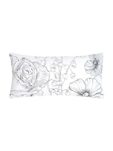 Baumwollperkal-Kissenbezüge Keno mit Blumenprint, 2 Stück, Webart: Perkal Fadendichte 180 TC, Weiß, Grau, 40 x 80 cm