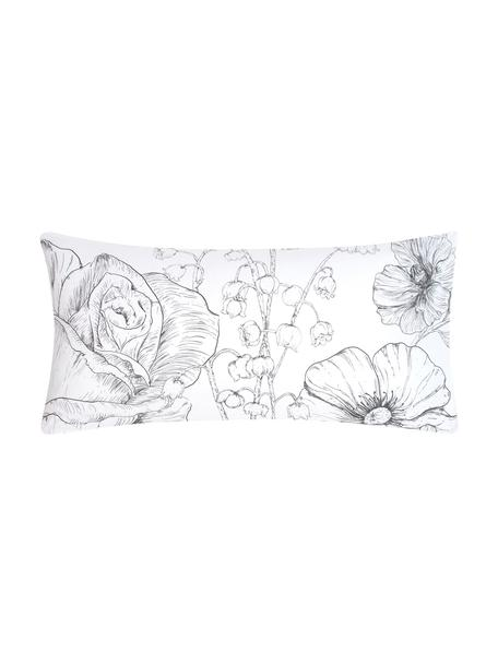 Baumwollperkal-Kopfkissenbezüge Keno mit Blumenprint, 2 Stück, Webart: Perkal Fadendichte 180 TC, Weiß, Grau, 40 x 80 cm