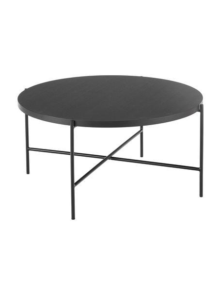 Mesa de centro Mica, Tablero: fibras de densidad media , Estructura: metal con pintura en polv, Negro, Ø 82 x Al 41 cm