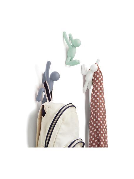 Wandhakenset Buddy, 3-delig, ABS-kunststof, Wit, Set met verschillende formaten