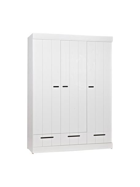 Kleiderschrank Connect mit 3 Türen in Weiß, Korpus: Kiefernholz, lackiert, Einlegeböden: Melamin, Weiß, 140 x 195 cm