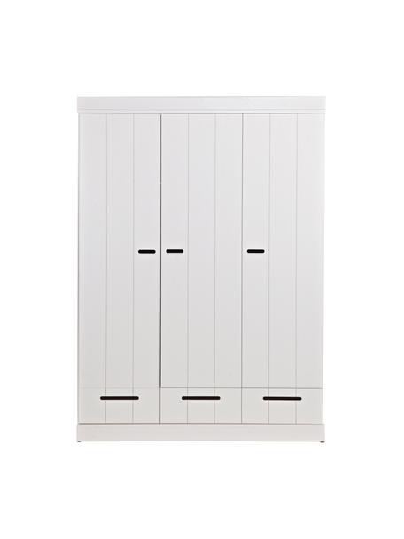 Kledingkast Connect met 3 deuren in wit, Frame: grenenhout, gelakt, Wit, 140 x 195 cm