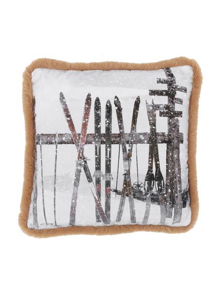 Kissenhülle Whistler, Vorderseite: 60% Polyester,40% Baumwol, Rückseite: Kunstwildleder, Braun, Weiß, 50 x 50 cm