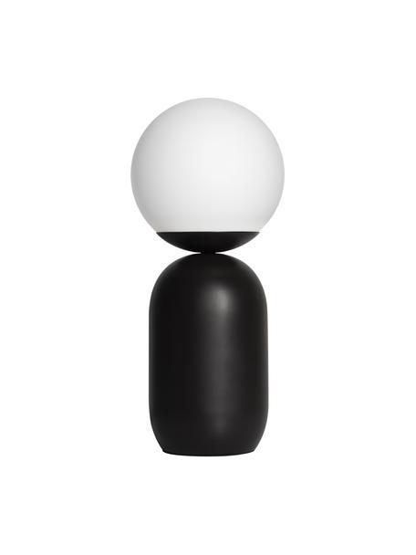 Moderne Tischlampe Notti mit Glasschirm, Lampenschirm: Opalglas, Lampenfuß: Metall, beschichtet, Schwarz, Weiß, Ø 15 x H 35 cm