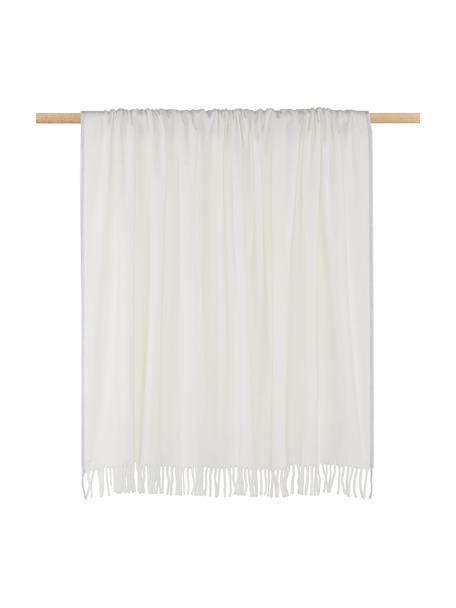 Manta con flecos Inka, 50%poliacrílico, 50%algodón, Marfil, gris claro, An 130 x L 170 cm