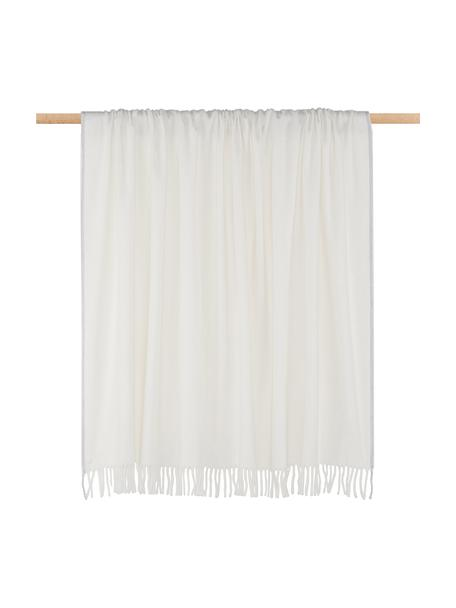Plaid bianco con finitura grigia Inka, 50% poliacrilico, 50% cotone, Avorio, grigio chiaro, Larg. 130 x Lung. 170 cm