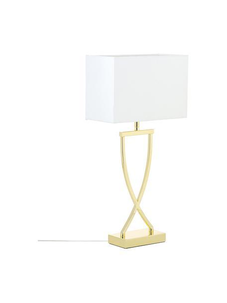 Lámpara de mesa grande Vanessa, estilo clásico, Pantalla: tela, Cable: plástico, Dorado, An 27 x Al 52 cm